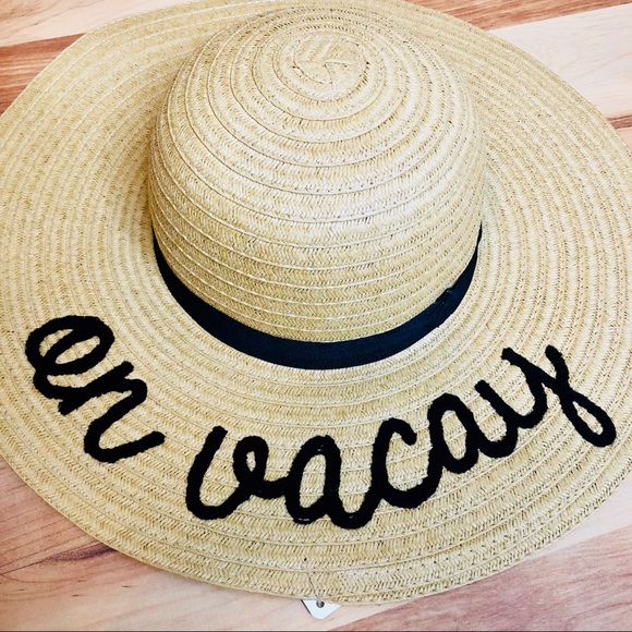 869d5d9b2 Summer Floppy black embroidered hat | on vacay NWT